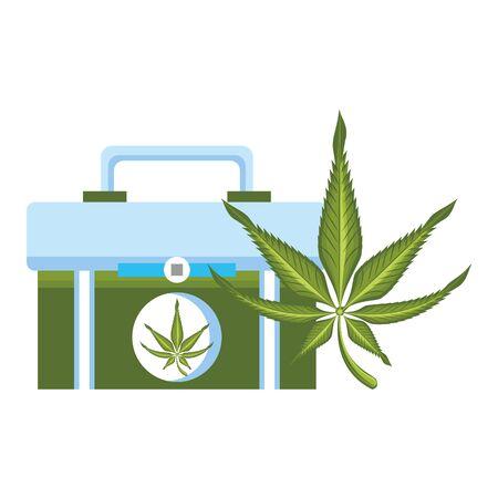 cannabis martihuana medical marijuana sativa hemp medicine plant kit cartoon vector illustration graphic design