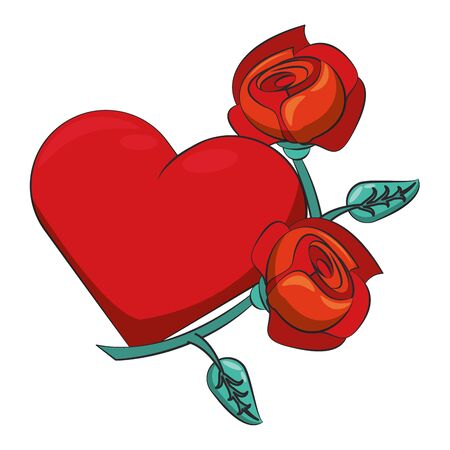 love heart romantic valentine with flowers isolated cartoon vector illustration graphic design Ilustração