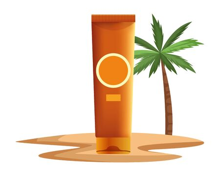 Sun bronzer bottle cosmetic product with dispenser on beach scenery background with palms ,vector illustration graphic design. Stock Illustratie