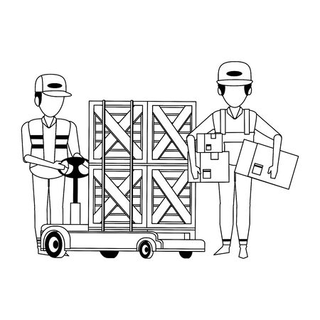 Warehouse workers with boxes on handtruck vector illustration