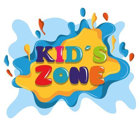 kids zone colorful sign children entertaiment icon cartoon vector illustration graphic design Illustration