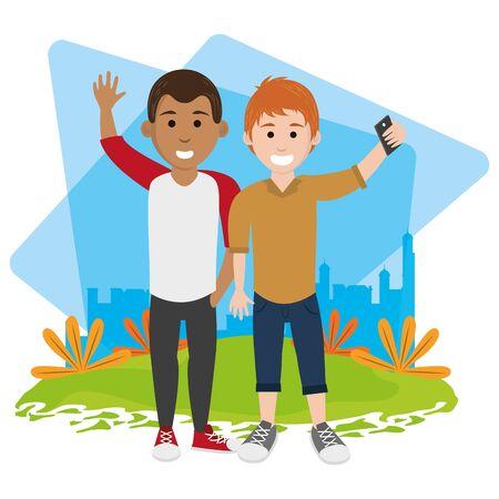 friends youth men people happy, men in urban park cartoon vector illustration graphic design Banque d'images - 129489242