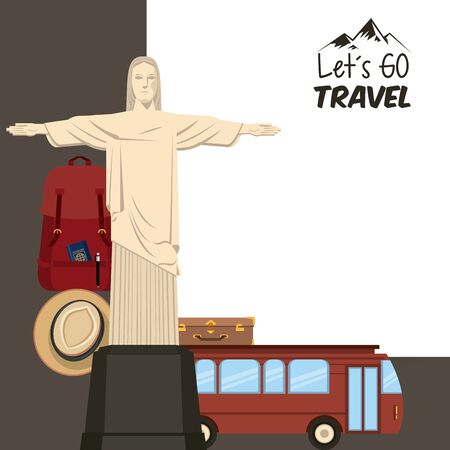 travel journey and tourism places with panama hat, suitcase, passport into a bag, christ the redeemer and english bus icon cartoon vector illustration graphic design