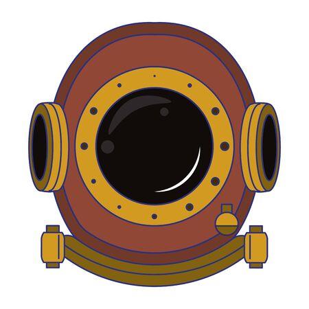 Antique cooper diving helmet isolated symbol vector illustration graphic design