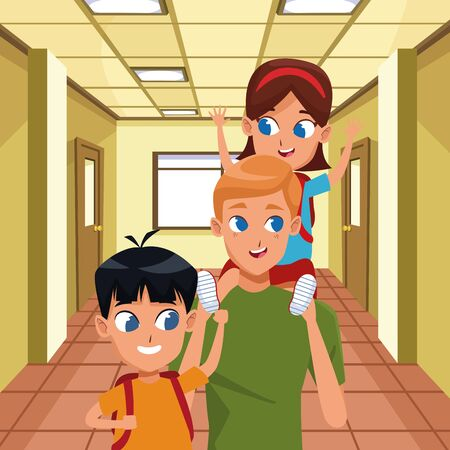 Family single father with kid holding school backpack inside building with windows background ,vector illustration.