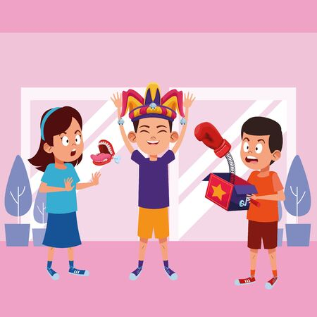 three young little kids boy wearing jester hat, surprised girl with a joke box with boxing glove and girl with false chattering jaws indoor with a windows behind avatar carton character vector illustration graphic design