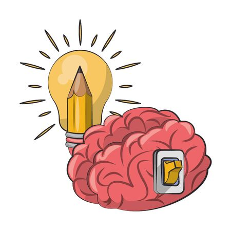 Brain with switch and bulb light with pencil cartoons vector illustration graphic design