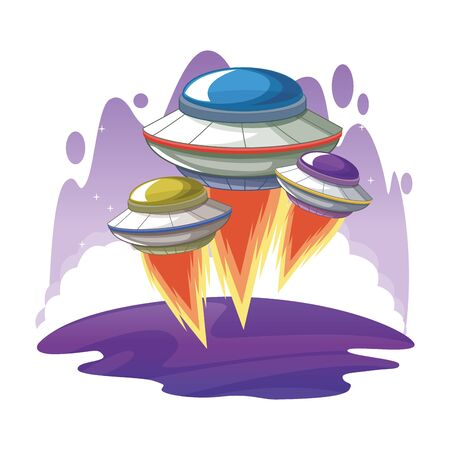 space exploration three flying saucer with water colorful background icon cartoon vector illustration graphic design