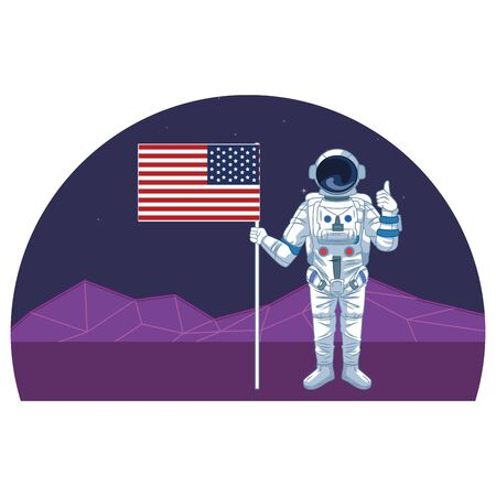 space exploration astronaut with thumb up and holding united states flag with retro futuristic mountain landscape icon cartoon vector illustration graphic design