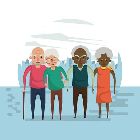 Beautiful grandparents elderly couples smiling in love cartoon in the city ,vector illustration graphicdesign.