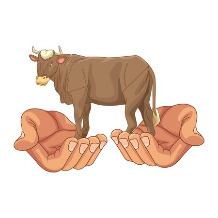 Hands holding sacred cow animal cartoon vector illustration graphic design 스톡 콘텐츠 - 129586844