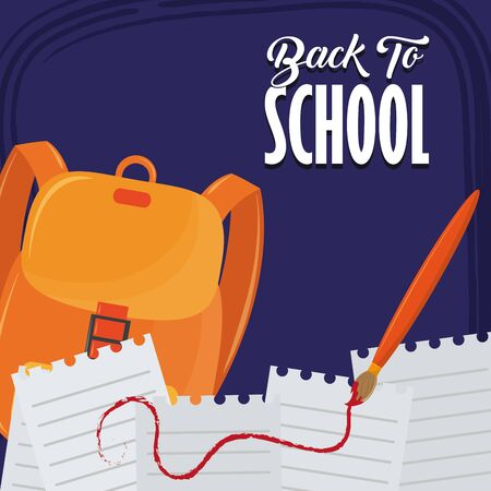 Back to school season card with colorful utensils cartoons on blue background vector illustration graphic design