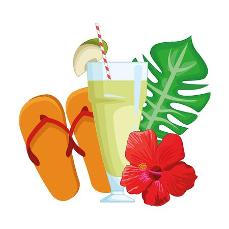 Delicious apple juice with flip flops summer cartoons vector illustration graphic design