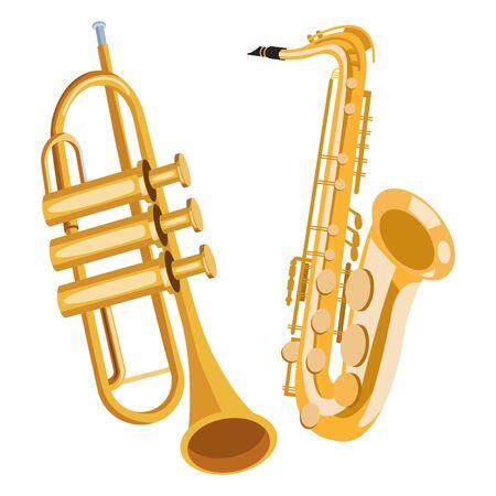 Diseño gráfico del ejemplo del vector de la historieta del icono del saxofón y de la trompeta