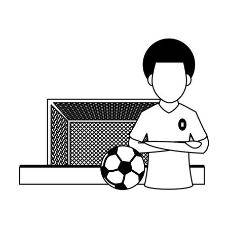 Soccer player with arms crossed and ball on playfield with goal cartoon vector illustration graphic design Archivio Fotografico - 129547088