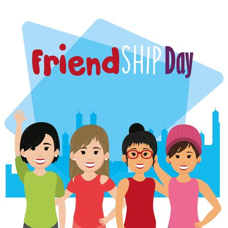 friendship day happy youth, women friends celebrating special day party cartoon vector illustration graphic design