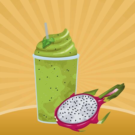 tropical fruit and smoothie drink with pitahaya icon cartoon in pop art background vector illustration graphic design Çizim