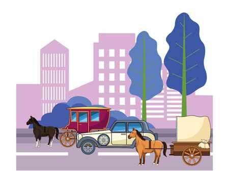 Classic cars and antique horse carriage, vintage and retro vehicles riding in the city urban background vector illustration graphic design.