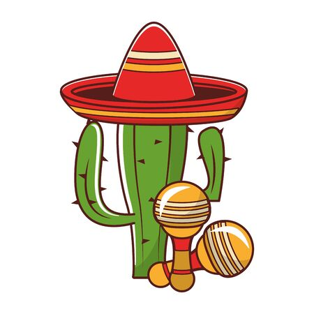 mexico culture and foods cartoons mariachi hat on cactus also the rattle vector illustration graphic design  イラスト・ベクター素材