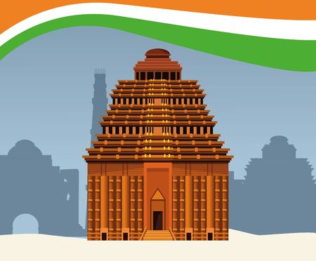 India national monument in the city with flag frame vector illustration graphic design Иллюстрация
