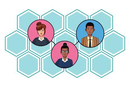 gente de negocios con gafas imagen de perfil de personaje de dibujos animados Ilustración de vector