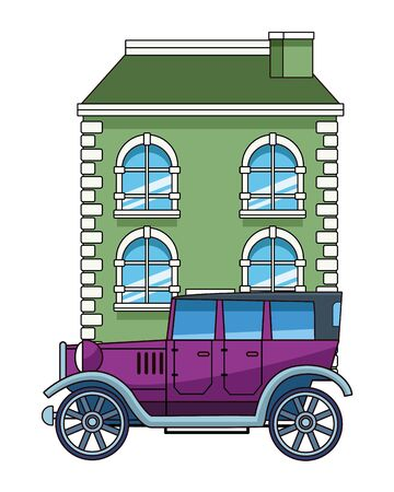 Classic and vintage big house building real estate with classic car parked vector illustration graphic design. Иллюстрация