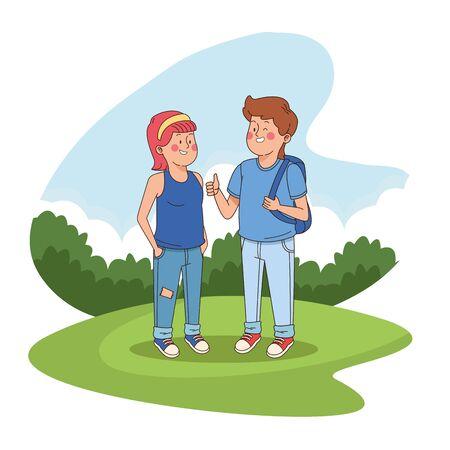 Teen friends having fun at park scenery, teenagers boy and girl cartoon. vector illustration graphic design Stock Illustratie