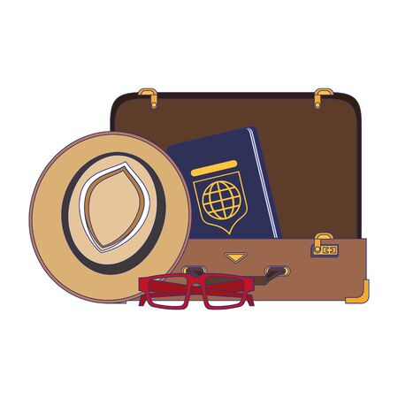 Travel vacations and summer suitcase open with passport glasses and hat cartoons