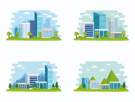 Set of Cities with buildings and nature, urban scenery at sunny day. vector illustration graphic design.