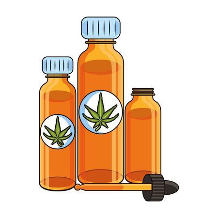 cannabis marijuana medical marijuana medicine sativa hemp oil bottles cartoon vector illustration graphic design