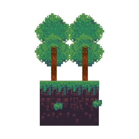 videogame pixelated retro art digital entertainment, trees isolated cartoon vector illustration graphic design Banque d'images - 129578760