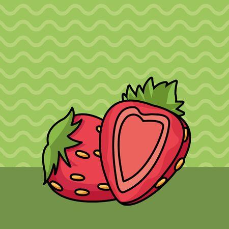 Strawberries half cut fruits cartoon on green striped background vector illustration graphic design