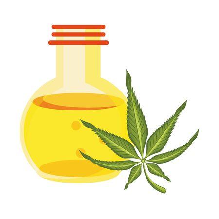 cannabis marijuana medical marijuana medicine sativa hemp oil bottle cartoon vector illustration graphic design Banque d'images - 129578774