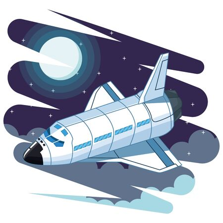 space exploration space shuttle with the moon and clouds with a starry sky icon cartoon vector illustration graphic design