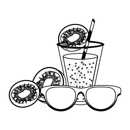 Summer sunglasses cartoons kiwi drinks and cocktails vector illustration graphic design