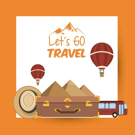 travel journey and tourism places with hot air balloon, hat, suitcase and egyptian pyramid icon cartoon vector illustration graphic design