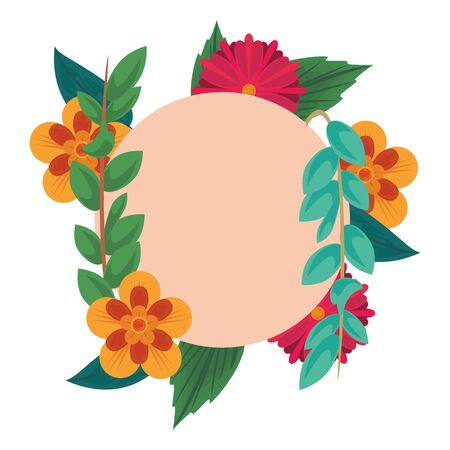 flowers tropical spring floral round icon cartoon vector illustration graphic design Çizim