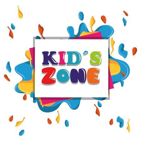 kids zone colorful sign children entertaiment icon cartoon vector illustration graphic design Banque d'images - 129578788