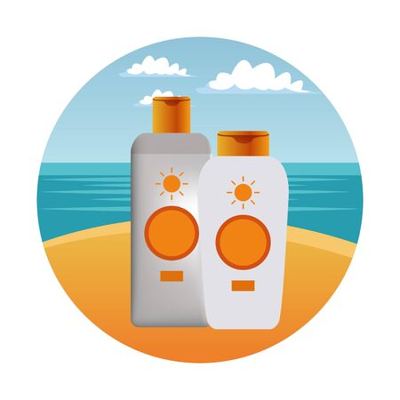 Sun bronzers bottles cosmetic products on beach scenery background ,vector illustration graphic design. Stock Illustratie