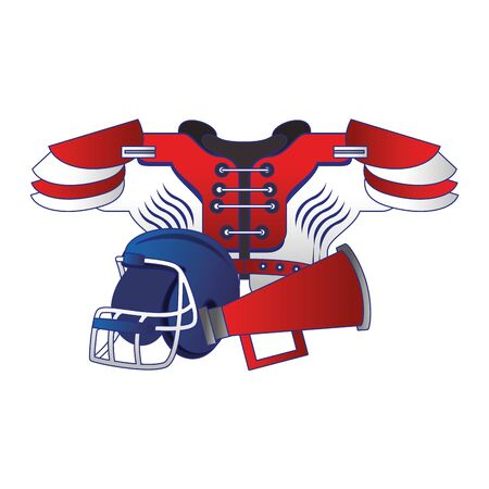 american football sport game helmet with shoulder pad and megaphone cartoon vector illustration graphic design