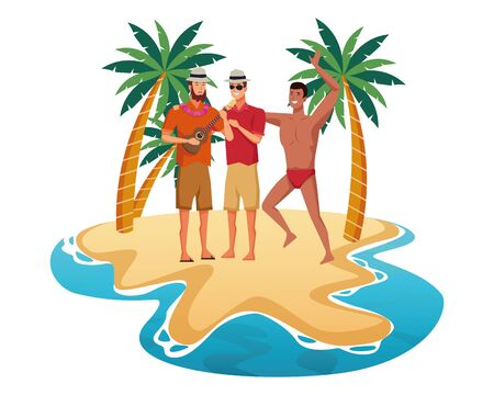 Young men enjoying summer in swimsuit playing guitar cartoons in beach at sunny day scenery isolated vector illustration