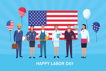 Happy labor day card with professional workers and united states flag, USA holiday celebration. vector illustration graphic design. Foto de archivo - 129577601