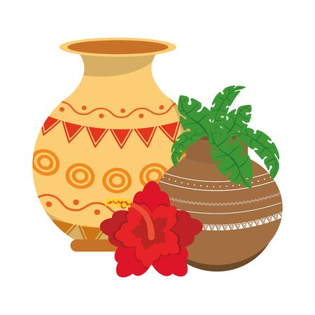 Indian lotus flowers and decorative porcelain jars with leaves isolated vector illustration graphic design Çizim