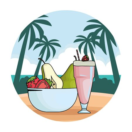 Natural strawberry juice cup and fruits in bowl in beach scenery round background vector illustration graphic design
