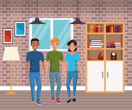Young couple and friend smiling with casual clothes cartoons inside home with furniture background vector illustration graphic design