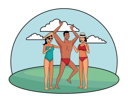 Young people enjoying summer in swimsuit cartoons at park outdoors vector illustration graphic design