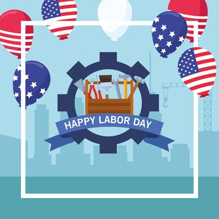 labor day usa celebration american patriotic card, tribute to builder people workers heavy work with city background cartoon vector illustration graphic design Banque d'images - 129578637