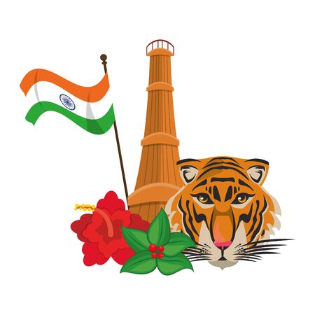 indian building monuments with qutab minar, indian flag, bengal tiger and flowers decorating icon cartoon vector illustration graphic design Illustration