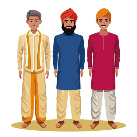 indian men wearing traditional hindu clothes man with moustache and turban and men with beard and turban profile