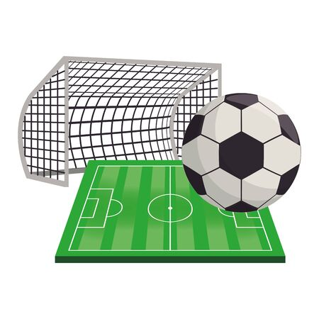 Soccer football sport game goal and playfield with ball vector illustration graphic design Stock fotó - 129578666